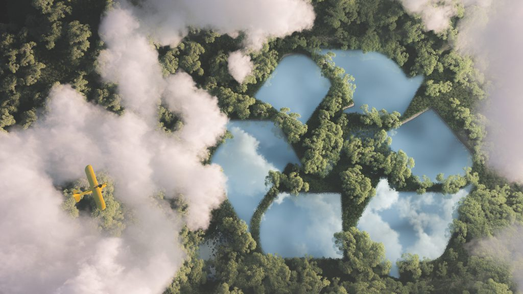 Eco friendly waste management concept. Recyclyling sign in a lake shape in the middle of dense amazonian rainforest vegetation viewed from high above clouds with small yellow airplane. 3d rendering.